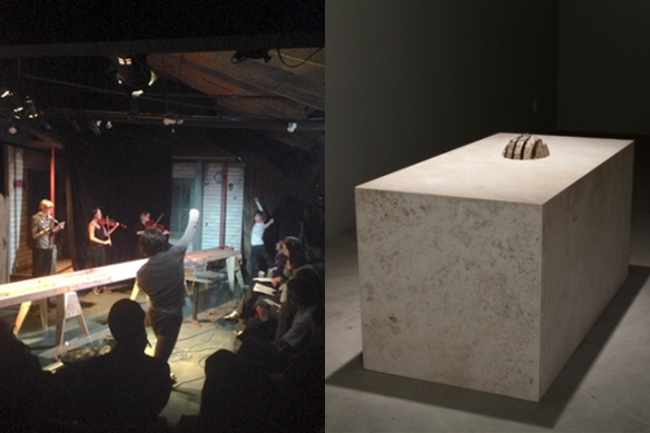 "Scott Benzel's performative environment ""W.W.A.R./ Die Dritte Generation"" (left), Photo: Sharsten; Sean Townley ""Untitled"" at ""The Mocking Hand"" (right), Photo: Night Gallery."